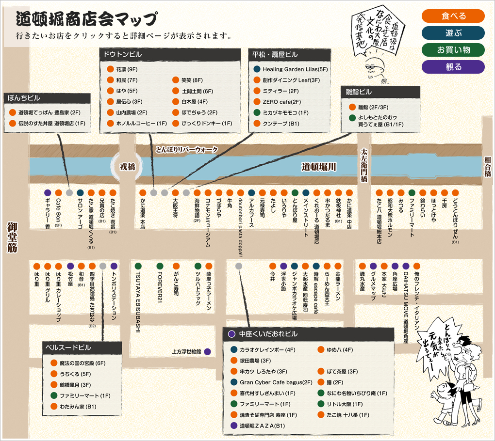 道頓堀商店街のマップ